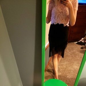 Dresses & Skirts - NWT Black Fringe Skirt!